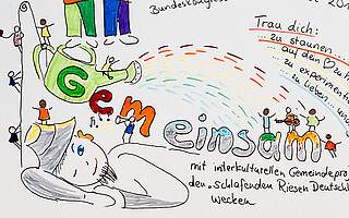 Zeichnung Bunte Gemeinde Bundesratstagung 2015