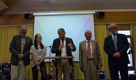 Michael Noss, Lucie Meißner, Christoph Stiba, Dr. Wolfgang Lorenz, Dr. Stefan Stiegler v. l. n. r.