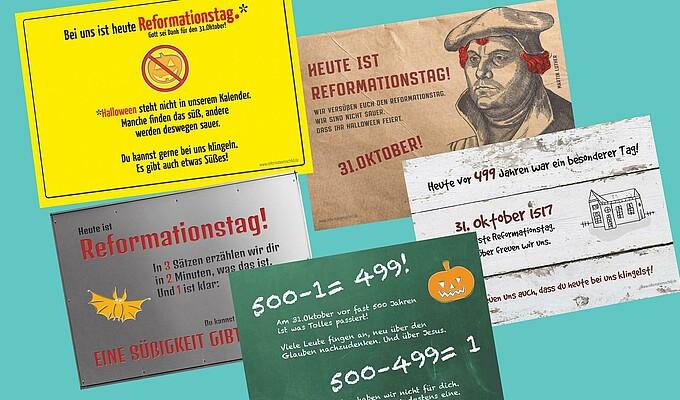 Schilder zum Reformationstag